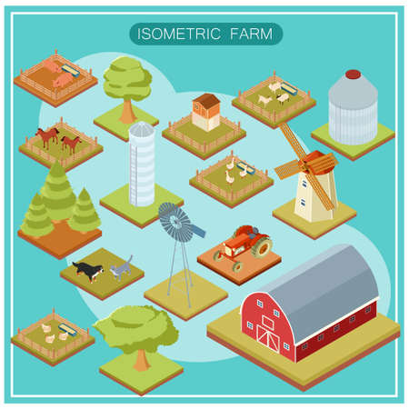 livestock: Vector image of an Isometric farm icon set Illustration
