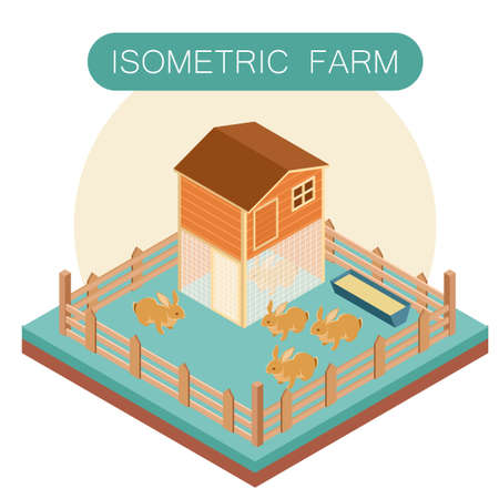 free range: Vector image of Isometric farm house for  rabbits