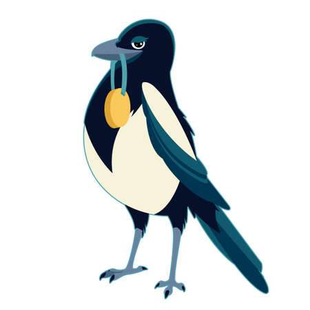magpie: Vector image of a Magpie with medal Illustration