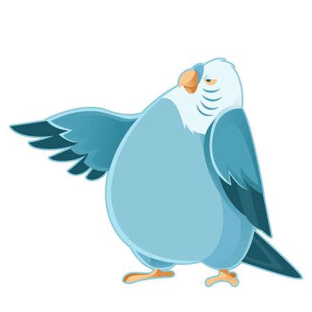 cartoon parrot: Vector image of a cartoon fat parrot
