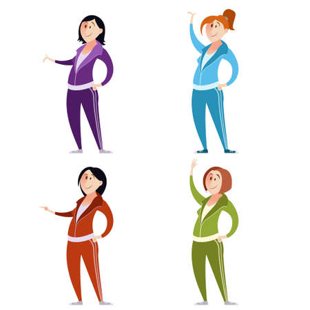 women exercise: Vector image of a Set of sport suit women