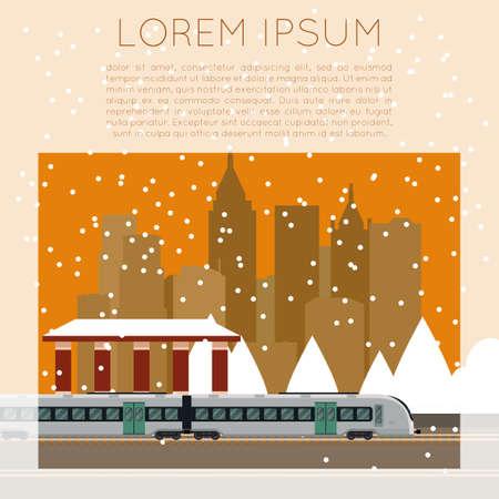Vector de imagen de una estación de tren suburbano Ilustración de vector