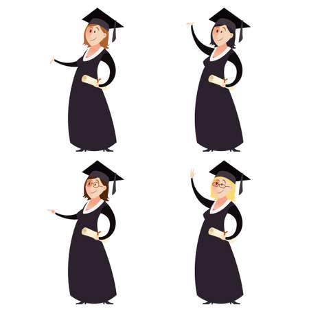cartoon graduation: Imagen del vector de Conjunto de las mujeres graduted