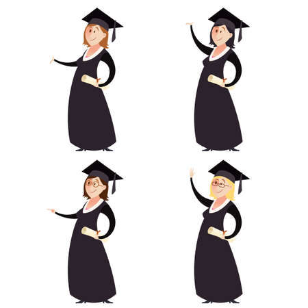 female student: Vector image of Set of graduted women