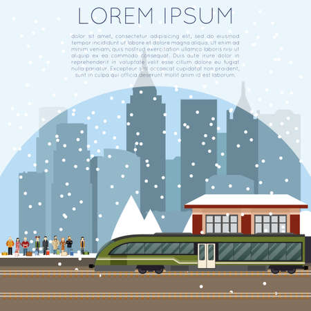 busy city: Vector image of a suburban train station Illustration