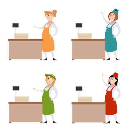 arboles frutales: Imagen del vector de Conjunto de las mujeres vendedor