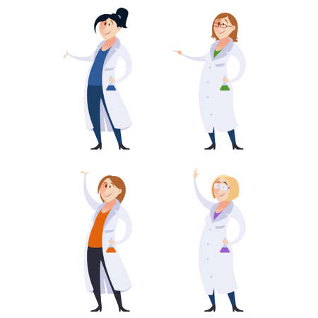 to a scientist: Vector image of Set of scientist women