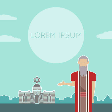 hebrew bible: Vector image of a banner with Moses Illustration