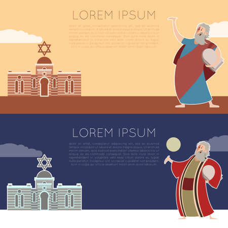 pesach: Vector image of a banner with Moses Illustration
