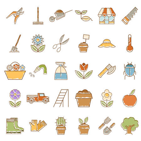 mustard seed: Vector image of Set of colourful garden icons