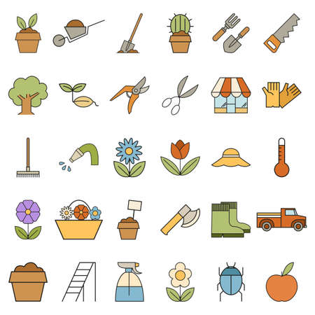 larder: Vector image of Set of colourful garden icons