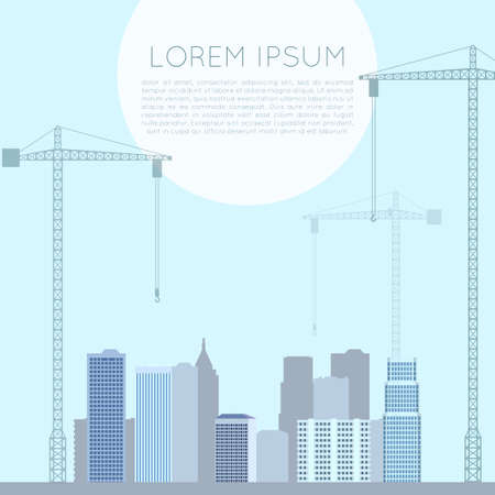 high rise buildings: Vector image of banner of flat cranes Illustration