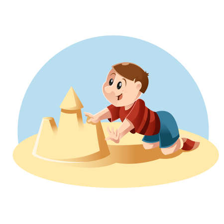 beach cartoon: Vector image of a kid playing in the sand