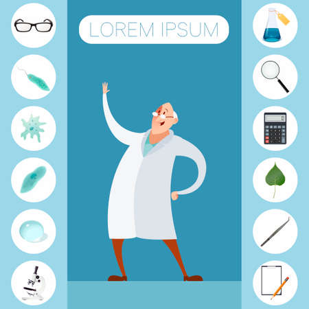 high scale magnification: sciense icons Illustration