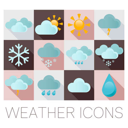 windy day: Weather flat icons Illustration