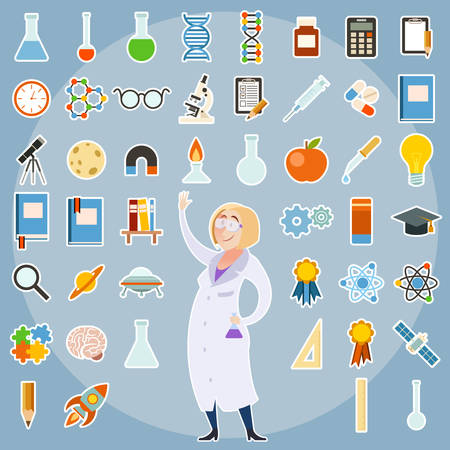 image of a set of science icons