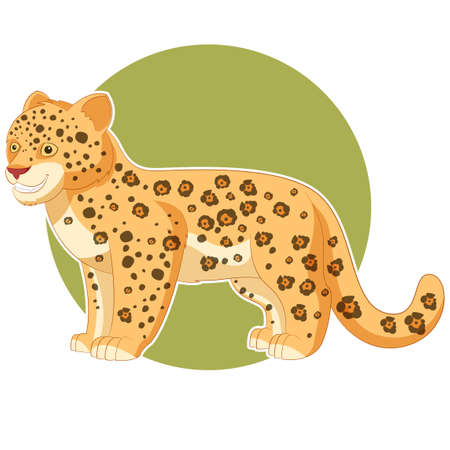 baby animals: image of the Cartoon smiling Jaguar Illustration