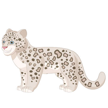 eye drawing: image of the Cartoon smiling  Snow Leopard