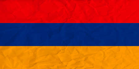 yerevan: Vector image of the Armenia  paper  flag Illustration