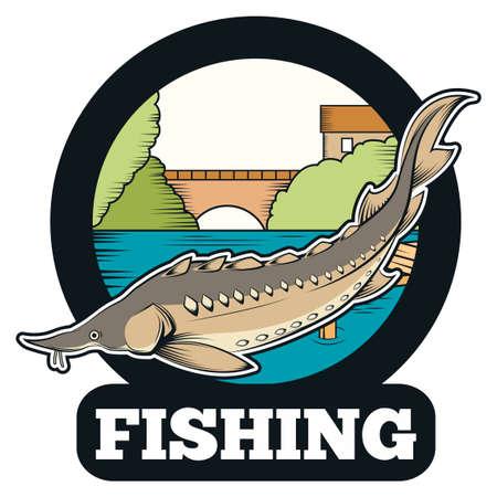 sturgeon: Vector image of a Sturgeon fishing banner