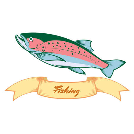 Vector image of a colourful line trout banner Illustration