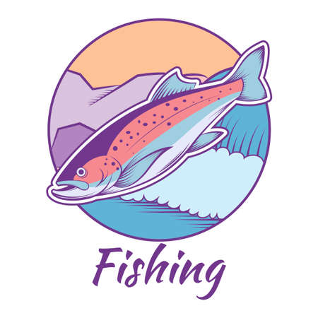 rainbow trout: Vector image of a colourful line trout banner Illustration