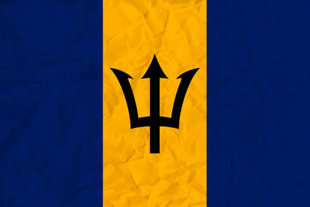 Vector image of the  Barbados paper flag