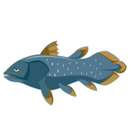 Vector image of the Cartoon blue Coelacanth