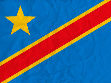 zaire: Vector image of the Democratic Republic of Congo  paper  flag Illustration