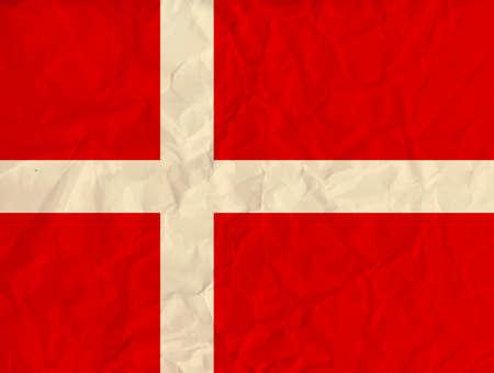 danish flag: Vector image of the Denmark paper  flag Illustration