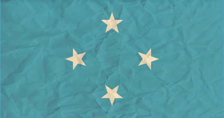 micronesia: Vector image of the Micronesia paper  flag