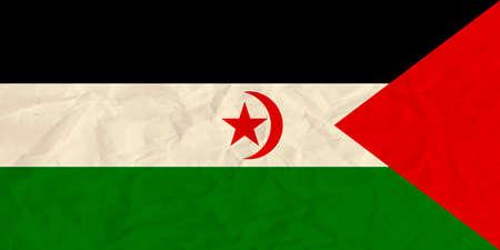 sahrawi arab democratic republic: Vector image of the Sahrawi Arab Democratic Republic paper  flag