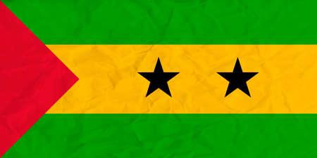 principe: Vector image of the Sao Tome and Principe paper  flag Vectores