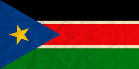 ethiopia abstract: Vector image of the South Sudan  paper  flag Illustration