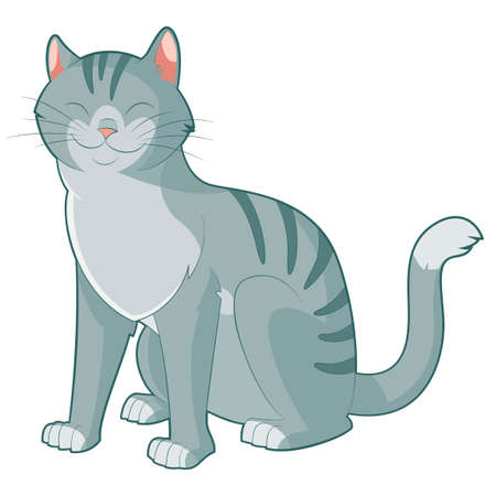pussy hair: Vector image of the Cartoon smiling cat