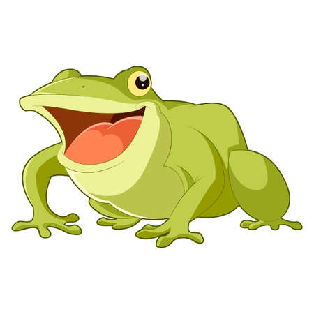 croaking: Vector image of the Cartoon smiling frog