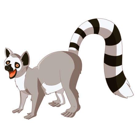 Vector immagine del Lemur sorridente del fumetto