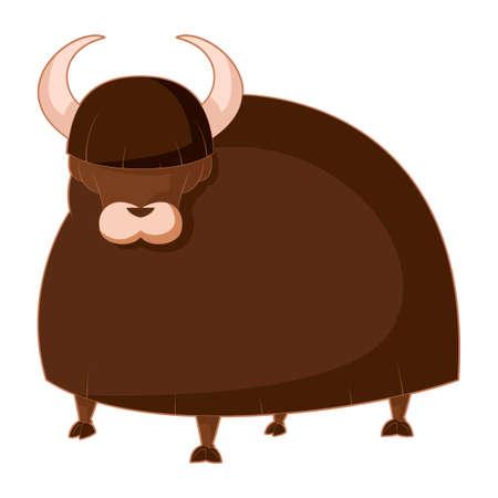 yak: image of the  Cartoon brown Yak Illustration