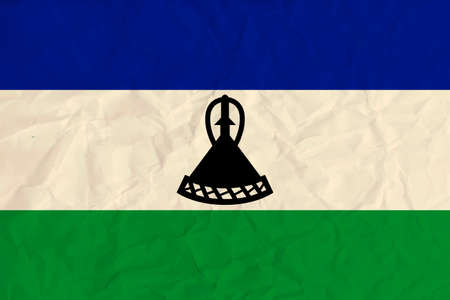 Vector image of the Lesotho  paper flag Illustration