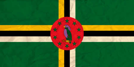 Vector image of the Dominica  paper flag Illustration