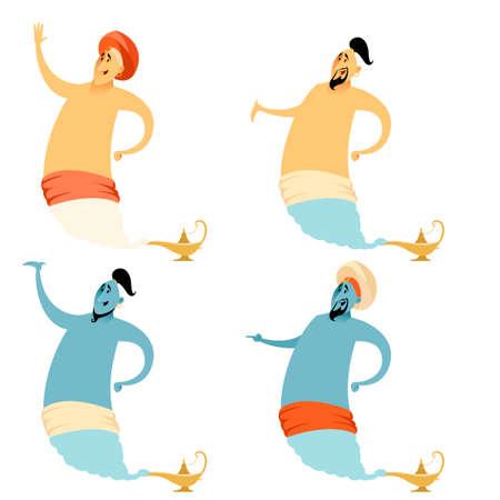 Vector image of the Set of cartoon genies