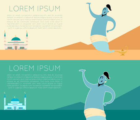 lamp of aladdin: Vector image of the Genie banner set Illustration