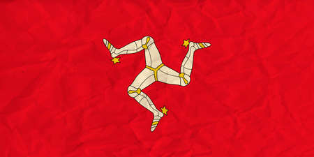 Vector image of the Isle of Mann  paper flag Illustration