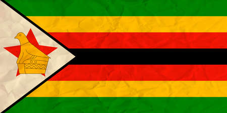 proportional: Vector image of the Zimbabwe  paper flag Illustration