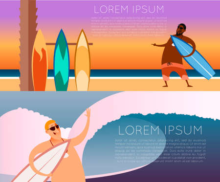 sunglasses recreation: image of the set of surfer banners Illustration