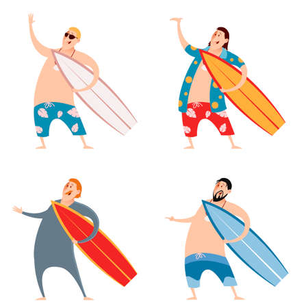 surfers: image of the set of surfers Illustration