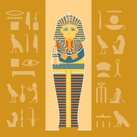 Vector image of the egiptian sarcophagus banner Illustration