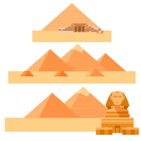 khafre: Vector image of the set of piramides and the Sphinx of Egypet Illustration