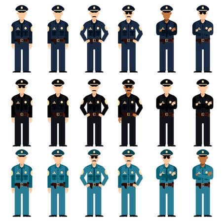 Vector image of the Set of police men Illustration