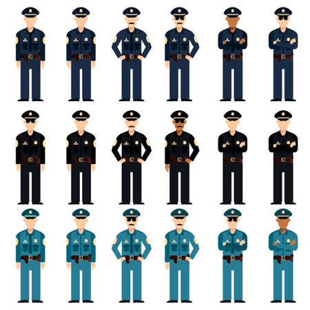 Vector image of the Set of police men Ilustracja